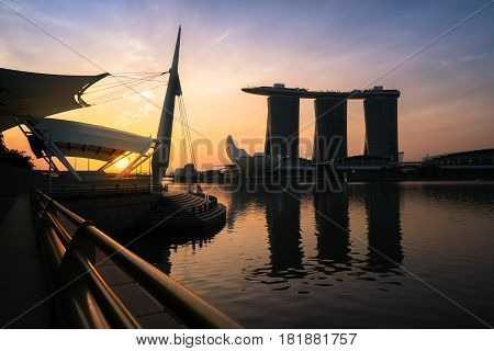 Breathtaking Sunrise At  Marina Bay, Singapore