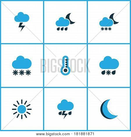 Weather Colored Icons Set. Collection Of Cold Weather, Thermometer, Night And Other Elements. Also Includes Symbols Such As Thermometer, Thermostat, Cold.