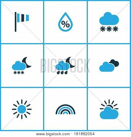 Meteorology Colored Icons Set. Collection Of Blizzard, Overcast, Arc And Other Elements. Also Includes Symbols Such As Overcast, Percent, Snowfall.