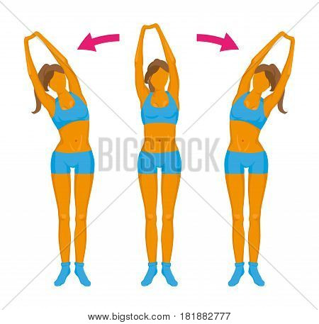 Fitness exercise. Girl doing a slope.On a white background