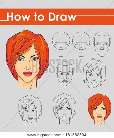 Draw tutorial. Step by step. Female face.