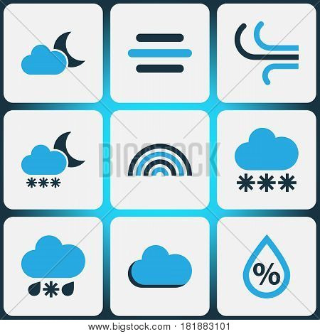 Climate Colored Icons Set. Collection Of Wind, Fog, Moonshine And Other Elements. Also Includes Symbols Such As Winter, Arc, Rainbow.