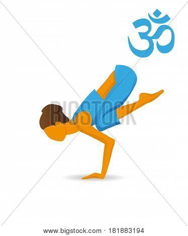 Bakasana or Crane yoga poseon a white background