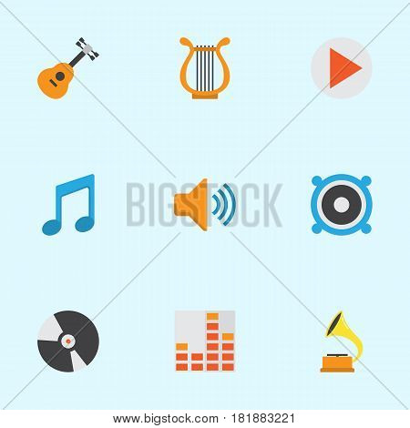 Music Flat Icons Set. Collection Of Tone, Acoustic, Shellac And Other Elements. Also Includes Symbols Such As Note, Volume, Tone.