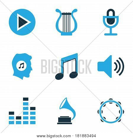 Multimedia Colored Icons Set. Collection Of Music Lover, Play, Harp And Other Elements. Also Includes Symbols Such As Lover, Sound, Note.