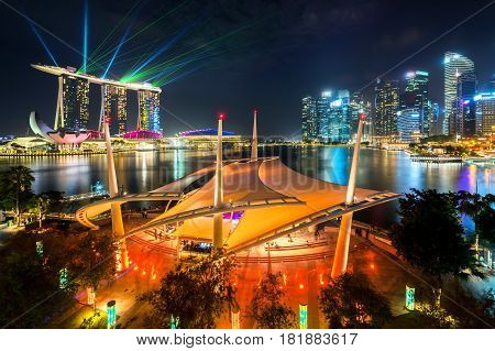 Cityscape Around Marina Bay, Singapore, At Night