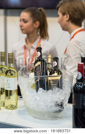 CRACOW POLAND - NOVEMBER 17 2016: International Wine Trade Fair ENOEXPO in Cracow is a professional event dedicated to wine. Every year the producers of wine from all around the world meet the importers distributors and representatives. Cracow. Poland