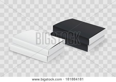 Realistic book blank cover set. Black and white template isolated on transparent checkered. Vector mock up