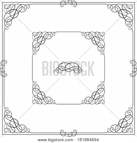 Black square ornate borders with vignette corners. Vignette, text divider, header.