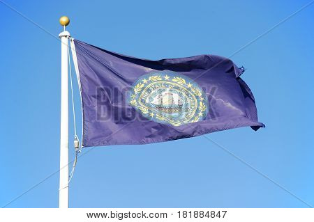 New Hampshire state flag waving under blue sky