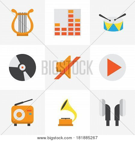 Audio Flat Icons Set. Collection Of Controlling, Dj, Shellac And Other Elements. Also Includes Symbols Such As Philharmonic, Begin, Headphone.