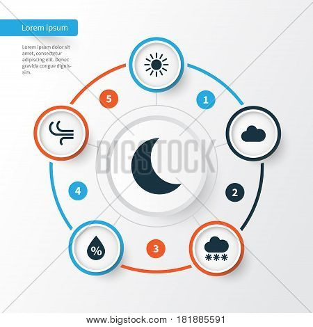 Nature Icons Set. Collection Of Snowy, Cloudy, Sun And Other Elements. Also Includes Symbols Such As Hate, Cloudy, Moisture.