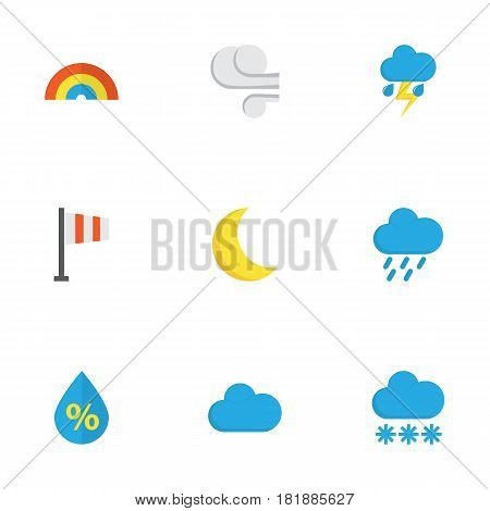 Weather Flat Icons Set. Collection Of Storm, Drop, Moon And Other Elements. Also Includes Symbols Such As Storm, Outbreak, Blizzard.