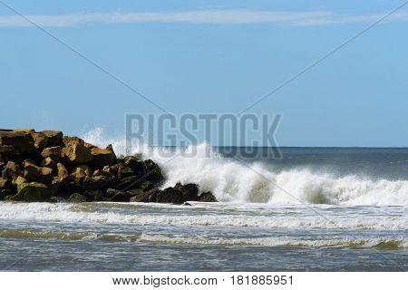 Coastal lanscape from Argentina , seashore , rocks and waves