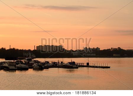 View of the River Neva on the outskirts of St. Petersburg at sunset Russia.