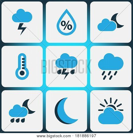 Climate Colored Icons Set. Collection Of Rainstorm, Thunderstorm, Lightning And Other Elements. Also Includes Symbols Such As Moonshine, Night, Cloudy.