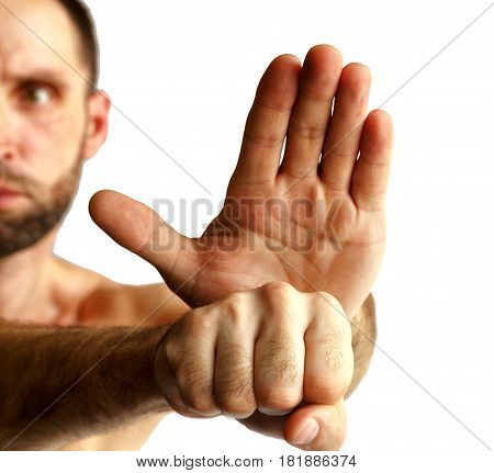 Hands of a man.On a white background