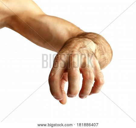 Hand of a man.On a white background