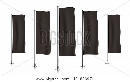 Five black vertical banner flags, standing in a row. Banner flag templates isolated on a white background. Vertical flags realistic mockup.