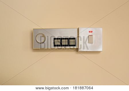 switches for save energy concept. White light switch, turn on or turn off the lights.