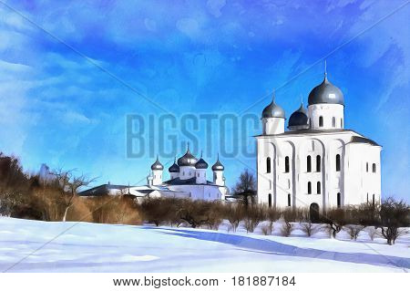 Colorful painting of St. George's Cathedral, St. George's Yuriev monastery, Veliky Novgorod, Russia