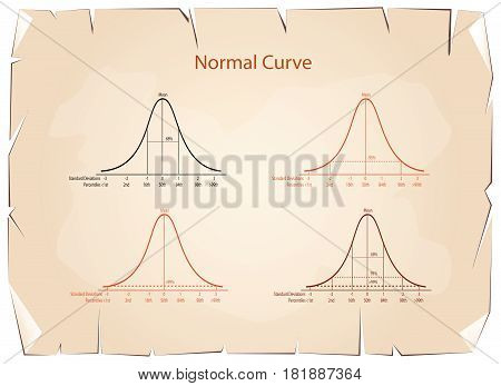 Business and Marketing Concepts, Illustration Set of 4 Gaussian Bell Curve or Normal Distribution Curve on Old Antique Vintage Grunge Paper Texture Background.