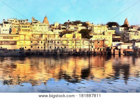 Colorful painting of old city with water on foreground, Udaipur, India