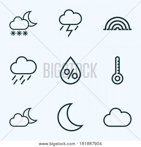 Nature Outlines Set. Collection Of Cloud, Rainbow, Snowfall And Other Elements. Also Includes Symbols Such As Snowfall, Cloud, Cloudy.
