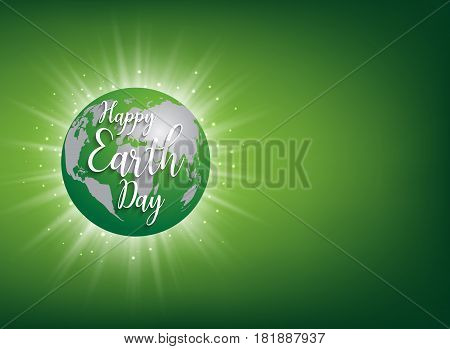 Earth Day banner. Vector lettering illustration on green globe planet with sun light