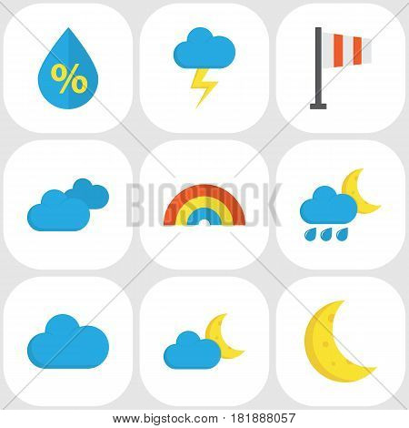 Weather Flat Icons Set. Collection Of Bow, Hailstones, Crescent And Other Elements. Also Includes Symbols Such As Sun, Demilune, Flash.