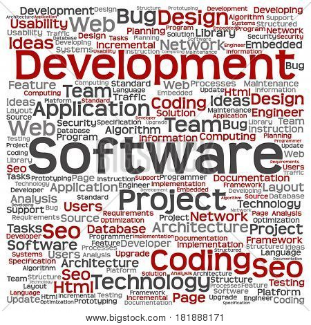 Concept or conceptual software development project coding technology square word cloud isolated on background
