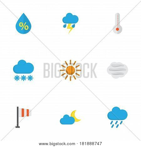 Meteorology Flat Icons Set. Collection Of Sun, Banner, Windy And Other Elements. Also Includes Symbols Such As Moon, Drop, Sun.
