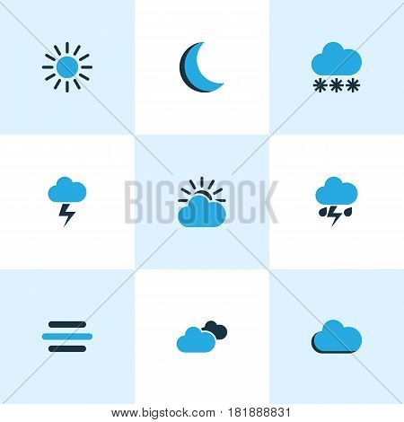 Meteorology Colored Icons Set. Collection Of Cloudy Sky, Lightning, Breeze And Other Elements. Also Includes Symbols Such As Moon, Cloud, Weather.