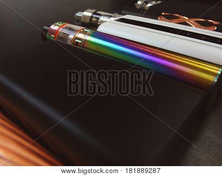 Assortment of electronic cigarettes store device variety vape vaping vapers popular modern style fashion design vaporizer coil trend