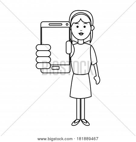 woman with smartphone device icon over white background. vector illustraiton