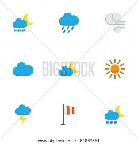 Nature Flat Icons Set. Collection Of Frosty, Cloud, The Flash And Other Elements. Also Includes Symbols Such As Shower, Storm, Sunny.
