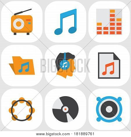 Audio Flat Icons Set. Collection Of Loudspeaker, Portfolio, Media And Other Elements. Also Includes Symbols Such As Equalizer, Play, List.