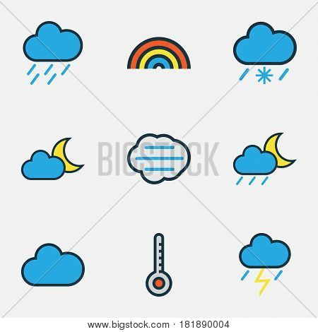 Climate Colored Outlines Set. Collection Of Scale, Rainbow, Hazy And Other Elements. Also Includes Symbols Such As Degree, Scale, Wind.