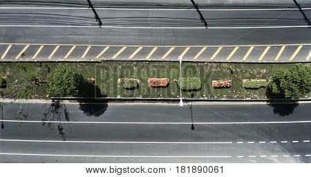 Aerial view of the wide empty road with a nice dividing strip of grass flowers and trees. Flat illustration of city road.
