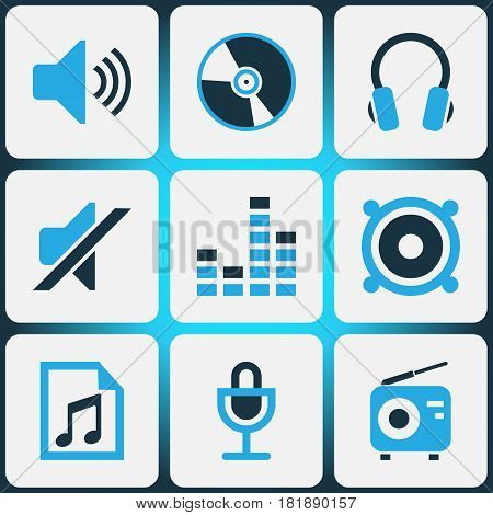 Multimedia Colored Icons Set. Collection Of Speaker, Radio, Volume And Other Elements. Also Includes Symbols Such As Sound, Microphone, Controlling.