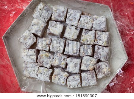 Turkish delight cand. Sweetness lukum. Sweets of rahat loachum