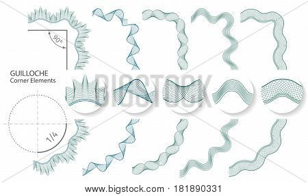 Set: Seamless Guilloche Corner Elements for certificate or diploma, isolated. Vector illustration.