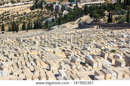 JERUSALEM - May 15 2014: Part of famous Jewish Cemetery dated 3000 years ago on Mount of Olives