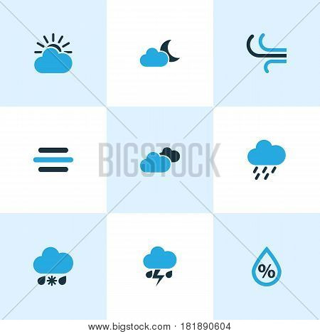 Meteorology Colored Icons Set. Collection Of Humidity, Cold Weather, Cloudy Sky And Other Elements. Also Includes Symbols Such As Weather, Moonshine, Drizzle.