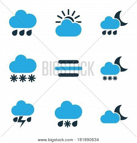 Meteorology Colored Icons Set. Collection Of Blizzard, Snowfall, Thunderstorm And Other Elements. Also Includes Symbols Such As Wind, Thunderstorm, Night.