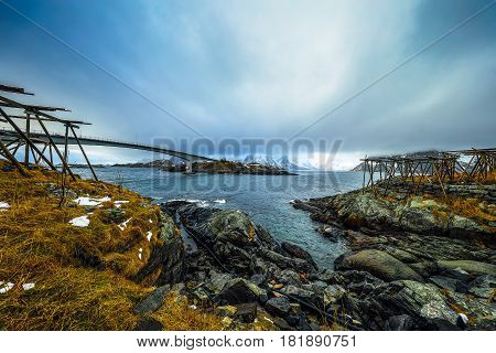 Long road bridge. Beautiful Norway landscape. Lofoten islands.