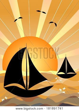 Fishing boats at sunrise sealboat silhouette on yellow sunny sea