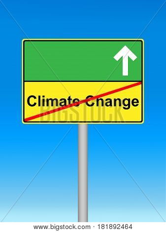 Stop the Climate Change Shield with blue Sky