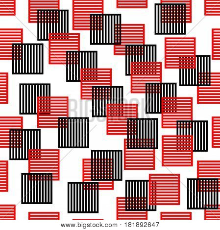 Seamless background composed of red and black squares on white area