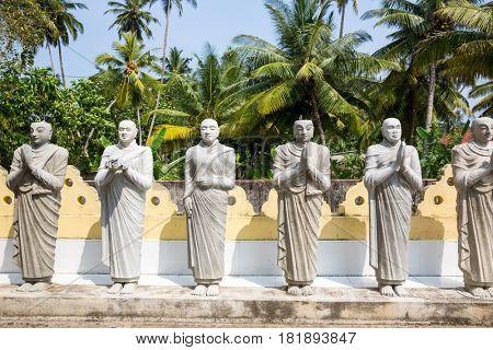 Buddha statues in a temple on Ceylon, Shri Lanka